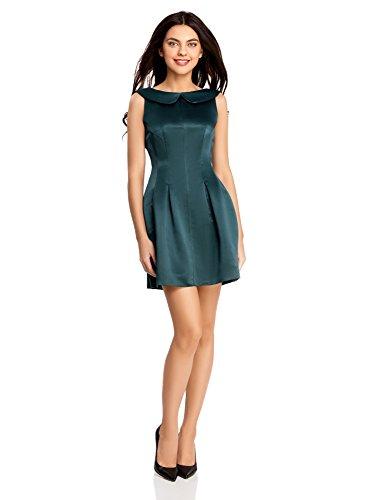 Oodji ultra donna abito in raso, verde, it 44 / eu 40 / m