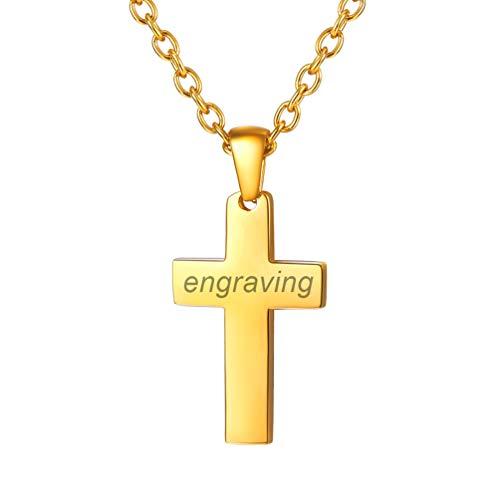nalisierte Halskette mit Kreuz Anhänger 18k vergoldet Name Gravur Collier Minimalist Frauen Mädchen Modeschmuck Geschenk für Weihnachten Geburtstag, Gold-S ()