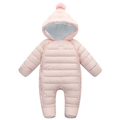 G-Kids Baby Schneeanzüge Daunenanzug Winter Overall Strampler mit Kapuze Mädchen Jungen Winterjacke Jumpsuit Rosa 70