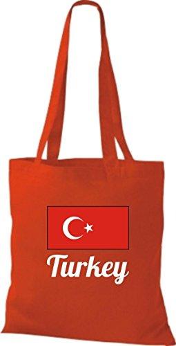 ShirtInStyle Stoffbeutel Baumwolltasche Länderjute Turkey Türkei Farbe Pink rot