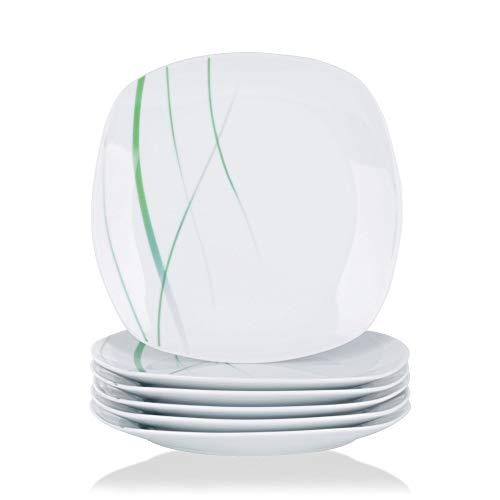 VEWEET, Porzellan Dessertteller 'Aviva' 6-teilig Set | Durchmesser 19,2 cm | Ergänzung zum Tafelservice 'Aviva' | Kuchenteller für 6 Personen (Stapelbar Dessertteller)