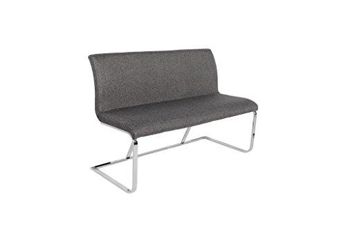 DuNord Design Sitzbank Küchenbank Polsterbank grau RIVIERA 130cm Essecke Bank Rückenlehne