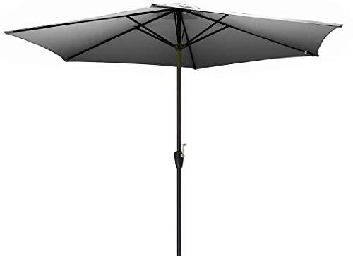 Parasol aluminium 3 m manivelle - Couleur - Gris