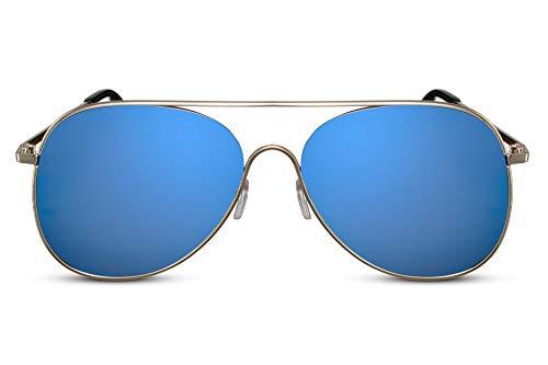 Cheapass Piloten-Sonnenbrille Gold Blau Verspiegelt UV400 Flieger-Brille Rund-e Metall Damen Herren