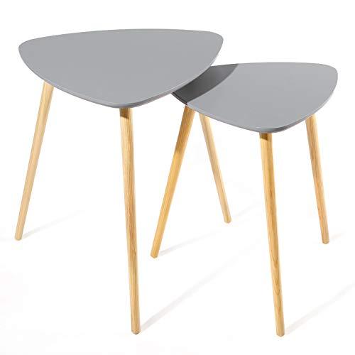 SONGMICS Lot de 2 Tables Basses superposables Table d'appoint Triangulaire Style scandinave Pieds en Bois de pin Massif Couleur Grise et Naturelle LET10GY