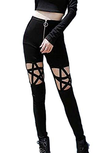 Fanvans Mujeres Casual Pantalones Leggings Apretado Hueco Fuera De Longitud Completa Black S