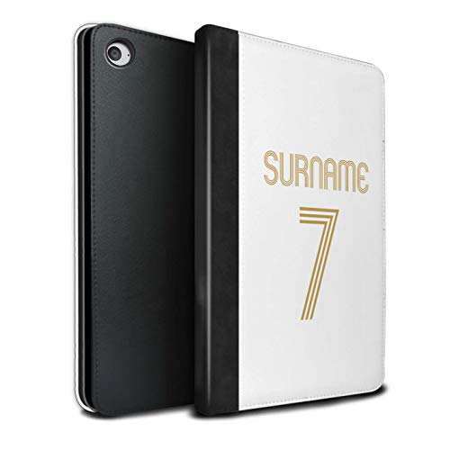Personalisiert Individuell Euro Fußball Vereine Trikots Kit PU-Leder Hülle für Apple iPad Mini 4 / Weiß Gold Design/Initiale/Name/Text Tablet Schutzhülle/Tasche/Etui