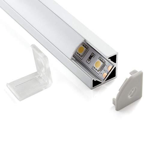 Eurekaled - Profilo Alluminio per Strisce LED da 2mt Barra Angolare 2 metri 45 Gradi con Cover Opaca in Plexiglass, Tappi e Ganci per il Montaggio