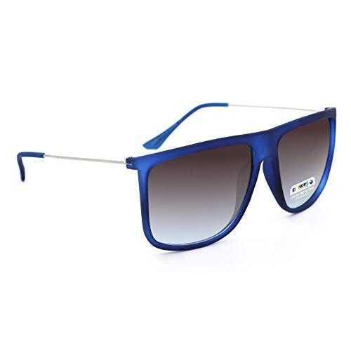 Occhiali da sole marca isurf squarest man uomo quadrato montatura in gomma opaca squadrato cool trend fashion 2016 (blu lente nera)