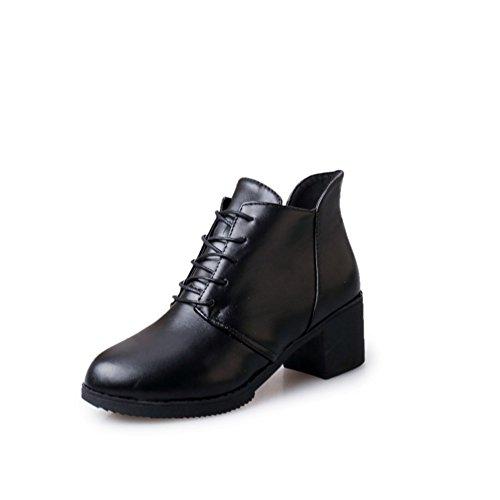 Thick-soled plate-forme bottes pour l'automne/hiver/ haut talon dentelle bottes/Casual chaussures femme A