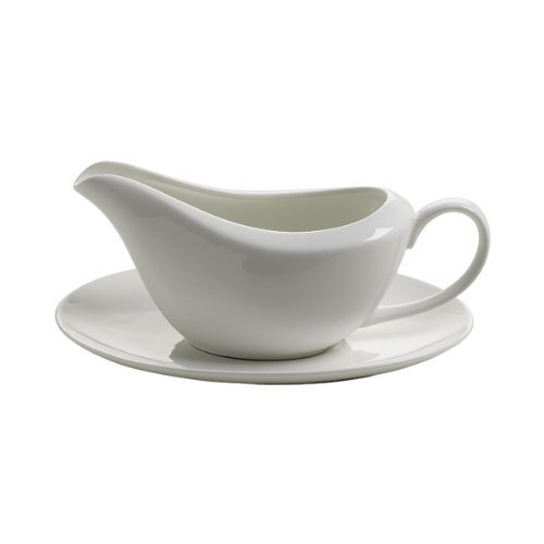 Maxwell & Williams White Basics JX58260 Gravy Boat and Saucer 260 ml in Gift Box by Maxwell Williams (Boat Gravy White)