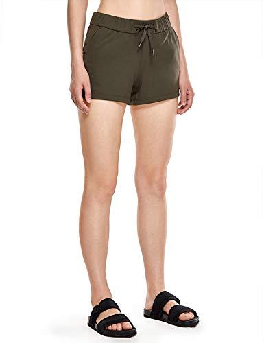 CRZ YOGA Damen Sporthose Laufshorts Relaxed Fit Mittelhohe Shorts mit Tasche-6cm Olivgrün XXS(34) (Relaxed Fit-yoga-hosen)