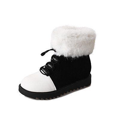 RTRY Scarpe Donna Pu Fall Winter Snow Boots Fashion Stivali Stivali Tacco Piatto Babbucce/Stivaletti Lace-Up Per Outdoor Casual Bianco Nero US7.5 / EU38 / UK5.5 / CN38