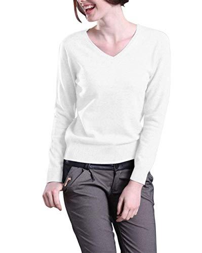 Aswinfon Damen Pullover Strickpullover Winter Warm V-Ausschnitt Langarm Strick Jumper Feinstrick Tops (Weiß,2XL) -
