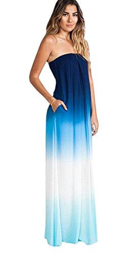 Haroty Damen Lang Kleider Bandeau Kleid Cocktailkleid Ombre Abendkleider Bedruckte Chiffonkleid (L)