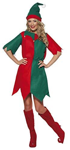 Smiffys Damen Elfen Kostüm, Tunika und Mütze, Größe: S, 21474 (Niedliche Kostüm Teenager)
