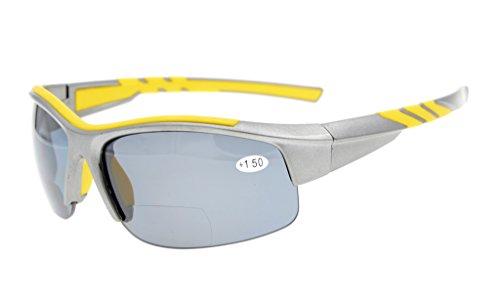 Eyekepper TR90 Unzerbrechliche Sportarten Polykarbonat Polarisierte Bifokale Halbrandlose Sonnenbrillen Baseball Laufen Angeln Angeln Golf Softball Wandern Grey Frame Graues Linse +2.5