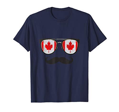 Kanadische Flaggen-Sonnenbrille-Schnurrbart-Herr Canada Pun T-Shirt