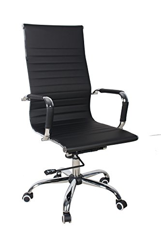 Shaik® Bürostuhl, Konferenz Freischwinger, Chefsessel, Schreibtischstuhl, Liegefunktion, 6 Farben, 3 Größen, (Hohe Lehne Drehstuhl, Schwarz) -
