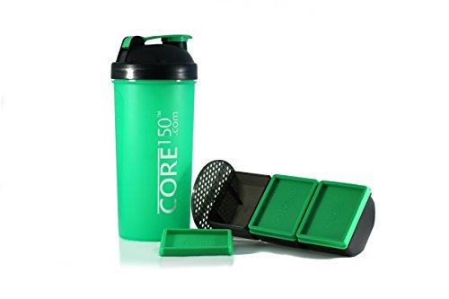 Corel 150 grün 1 Liter Protein Shaker mit 3 Speicherfächern (Bcaa Pulver Stack)