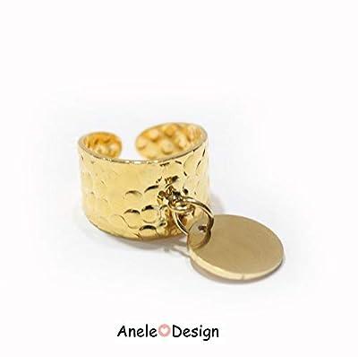 Bague martelée or, bague bohème, bague dorée à l'or fin pendentif rond, Bague pampille réglable, Bague femme ajustable, Cadeau femme
