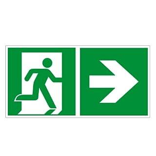 Rettungsweg rechts - Fluchtweg - Notausgang - Rettungsschild - Rettungszeichen ISO 7010 Kunststoff 300 x 150 mm