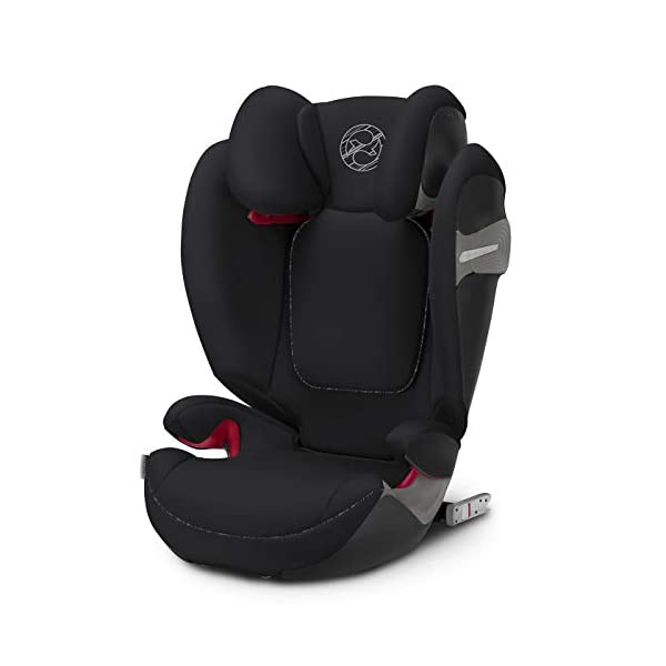 CYBEX Gold Solution S-Fix Child's Car Seat, For Cars with and without ISOFIX, Group 2/3 (15-36 kg), From approx. 3 to approx. 12 years, Urban Black  Sturdy and high-quality child car seat with long service life - For children aged approx. 3 to approx. 12 years (15-36 kg), Suitable for cars with and without ISOFIX Maximum safety - Built-in side impact protection (L.S.P. System), 3-way adjustable headrest, Energy-absorbing shell 12-way adjustable, comfortable headrest, Adjustable backrest, Extra wide and deep seat cushion, Ventilation system 1