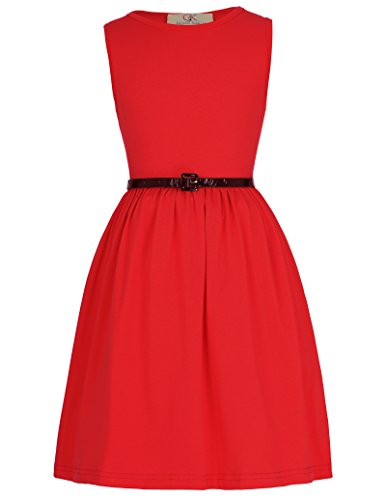 Maedchen Aermellos A-Linie Casual Kleid 8-9 Jahre CL8990-2