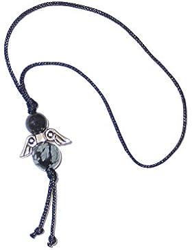 Engel Anhänger Edelstein Schneeflockenobsidian-schwarz Glücksengel Geschenkeanhänger handgemacht GE5909