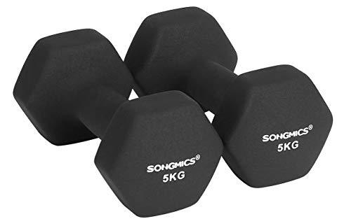 SONGMICS Women\'s SYL60BK 2er-Set Hanteln 0,5 kg, 1 kg, 1,5 kg, 2 kg, 3 kg, 4 kg & 5 kg Kurzhantel Gymnastikhantel Vinyl in Verschiedenen Gewichts-und Farbvarianten