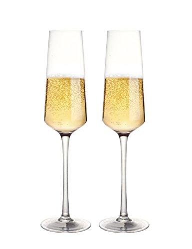 (Fecihor Champagner Glas Kristall Sektgläser Weinglas Geschenkset - 2er Set - 100% bleifreies Premium Kristallglas -  Freunde Familienfest Hochzeit (280ml))