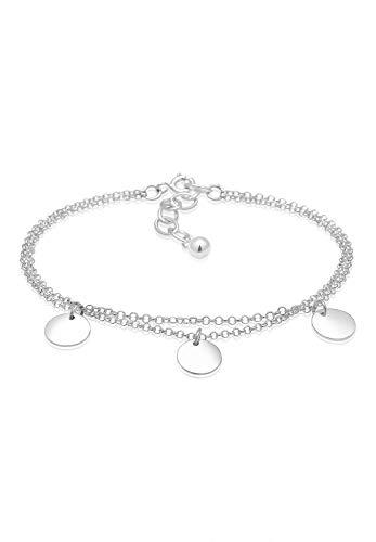 Elli Damen Echtschmuck Armband Kreis Layer Geo Plättchen in 925 Sterling Silber 16 - 16cm Länge
