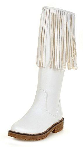 Aisun Femme Spécial Franges Tige Haute Mollet Bottes Blanc