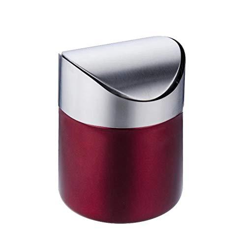 Mini mülleimer papierkorb aus Edelstahl für Kaffeepads und Teebeutel, Schwingdeckel Küchenbehälter,Rot