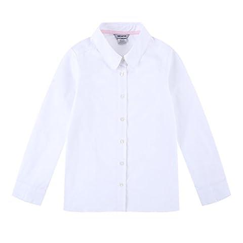 Bienzoe Big Girl's School Uniforms Oxford Long Puff Sleeve Blouse White S