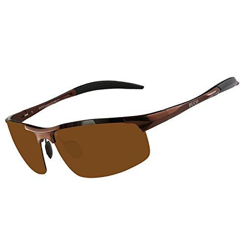 Lunettes de soleil homme Duco - Lunettes de sport polarisées - Lunettes de conduite avec monture en métal Incassable - 100% anti UV400 - 8177S (Marron)