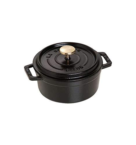 Casseruola tonda in ghisa per induzione colore nero con maniglie e coperchio di staub, diametro 120 mm