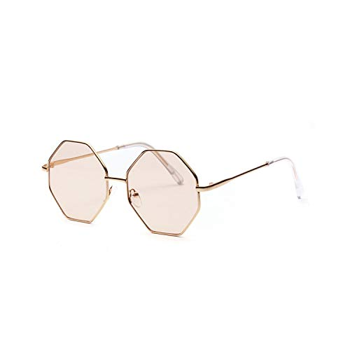 Sportbrillen, Angeln Golfbrille,Big Vintage Polygon Sunglasses Female NEW Octagon Tinted Clear Sun Glasses For Women Men Metal Frame Uv400 as show in photo light brown lens