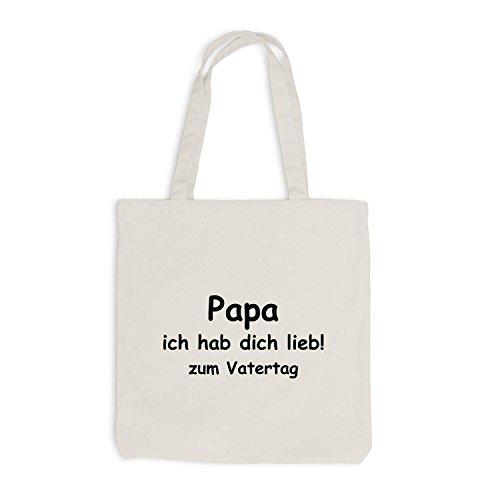 Jutebeutel - Papa - Ich habe dich lieb zum Vatertag - Dads day Beige