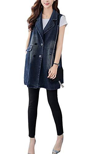 Jeansweste Damen Ärmellos Revers Denim Lang Weste Vintage Elegante Perfect Fashion Loose Lässig Jeansmantel Jacke Outwear Frühling Herbst Style (Color : Blau, Size : M)