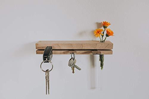 Schlüsselbrett aus Holz mit Blumenvase (handgefertigt) Schlüsselhalter/Moderne Schlüsselleiste/Schlüssel-Board/Eiche/Massivholz -