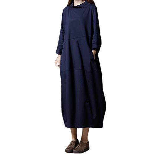 Damen Kleid, Malloom Frauen Plus Größe Folk-Custom lose Reine Farbe Baumwolle und Leinen Kleid Damen Casual Plus größe Verlieren Rundhalsausschnitt
