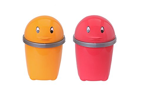 CSM Plastic Dustbin (13x10x19cm, Multicolour) – Set of 2
