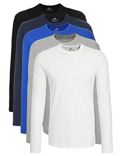 Lower East T Shirt Maniche Lunghe Uomo Pacco da 5 Nero/Bianco/Blu/Azzuro L