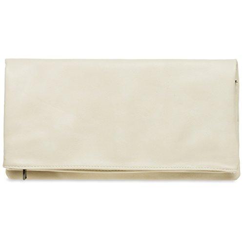 CASPAR TA392 elegante Damen Briefumschlag Envelope Clutch Tasche Abendtasche, Farbe:elfenbein;Größe:One Size (Clutch Handtasche)