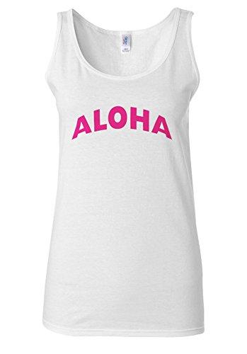 ALOHA Pink Writing Funny Holiday White Women Vest Tank Top **Blanc