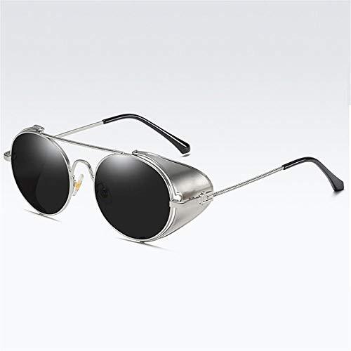 Gy-hhhh protezione uv400, occhiali da sole rotondi - occhiali con lenti trasparenti con protezione laterale - occhiali da sole retrò in metallo di lusso-neri