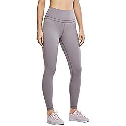 CRZ YOGA Mujer Naked Feeling Deportivos 7/8 Leggings Yoga Fitness Pantalon de Cintura Alta con Bolsillos Roca lunar XXS(34)