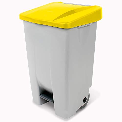 Tretabfalleimer mit Rollen, Inhalt 80 Liter, HxBxT 740 x 490 x 420 mm, Korpus grau, Deckel gelb