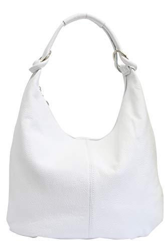 AmbraModa Damen Leder Handtasche Schultertasche Beutel Hobo Bag GL025 (Weiß) -